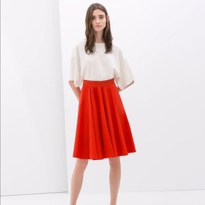 ZARA red pleated skirt